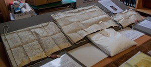 Some of the ancient documents Shannon Sinclair researched and studied for the exhibition.