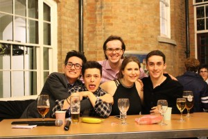 The judging panel of James, Tom, Sarah and Stevie, with the MC of the show, Sam!
